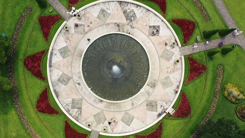 Bird's Eye View Of A Beautiful Park With Water Fountain