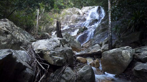A Small Waterfall On A Rocky Slope
