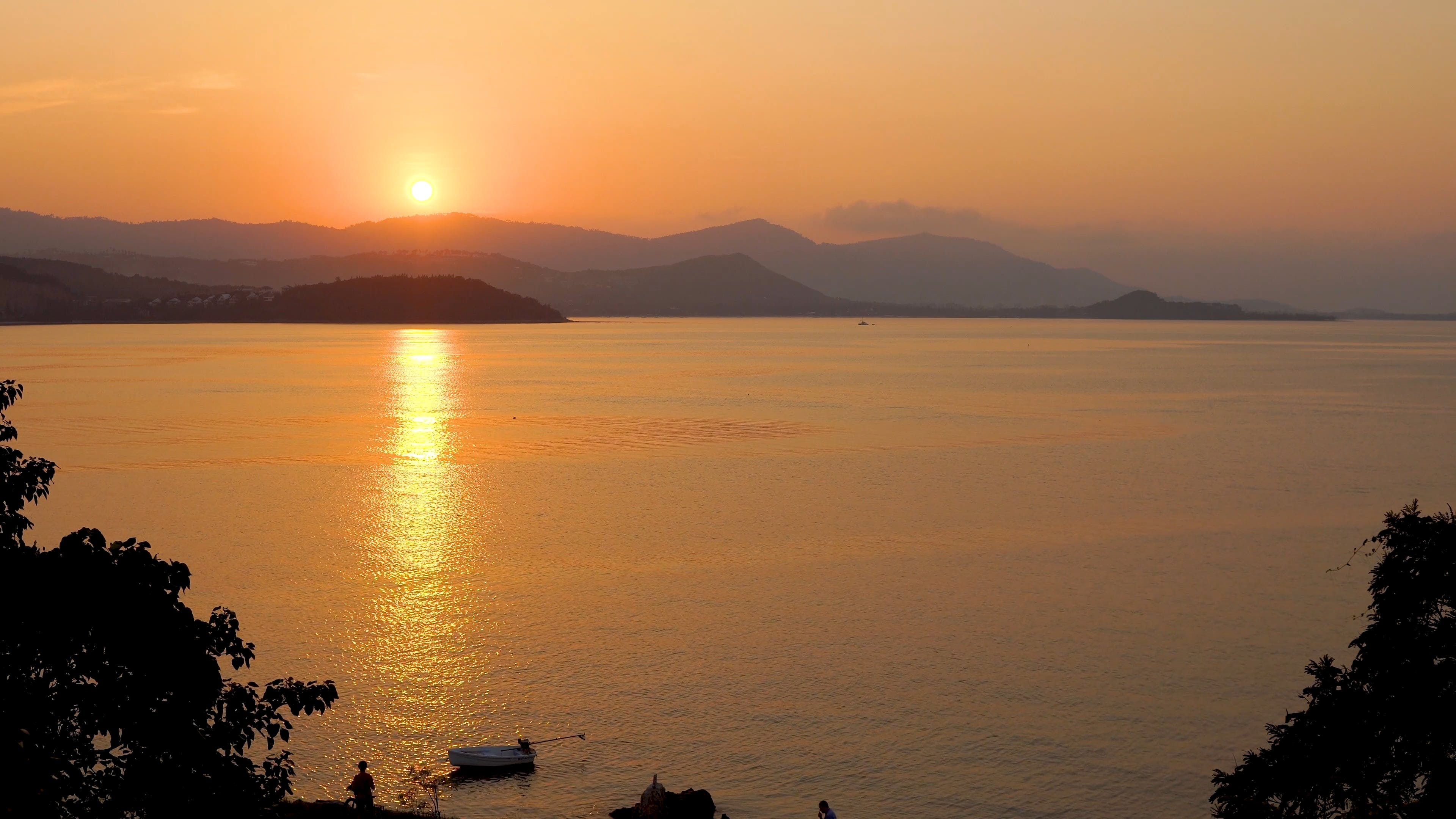Sunset View On A Lake