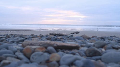 Low Angle Shot Of A Beach With Stones On Shore