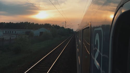 Train Traveling With View Of Sunset