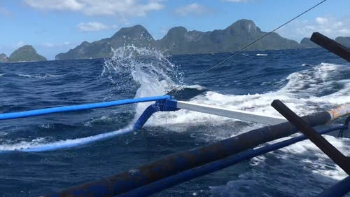 Motorboat Traveling Fast With Water Splashing