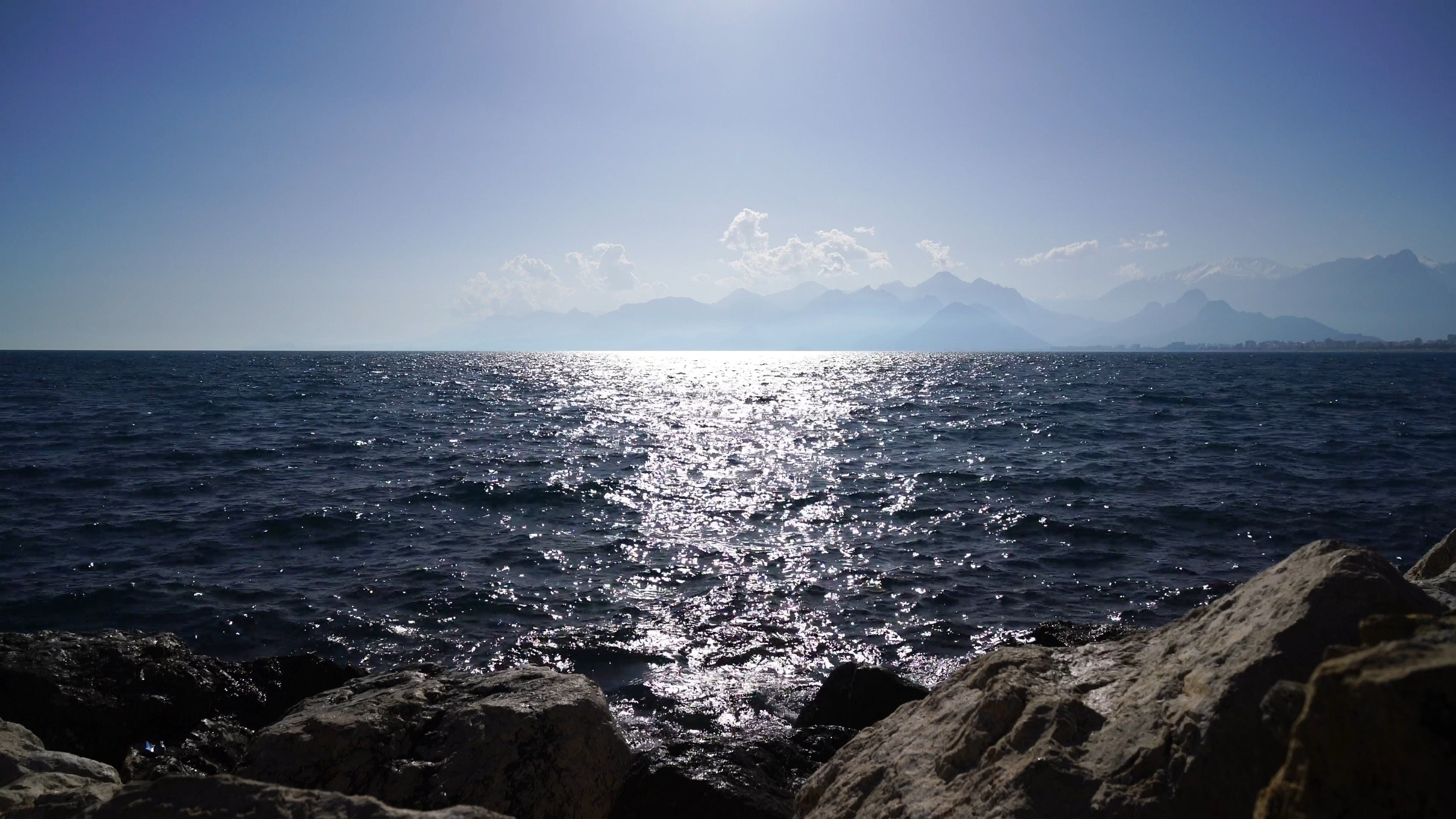View Of The Sea With Sunbeam
