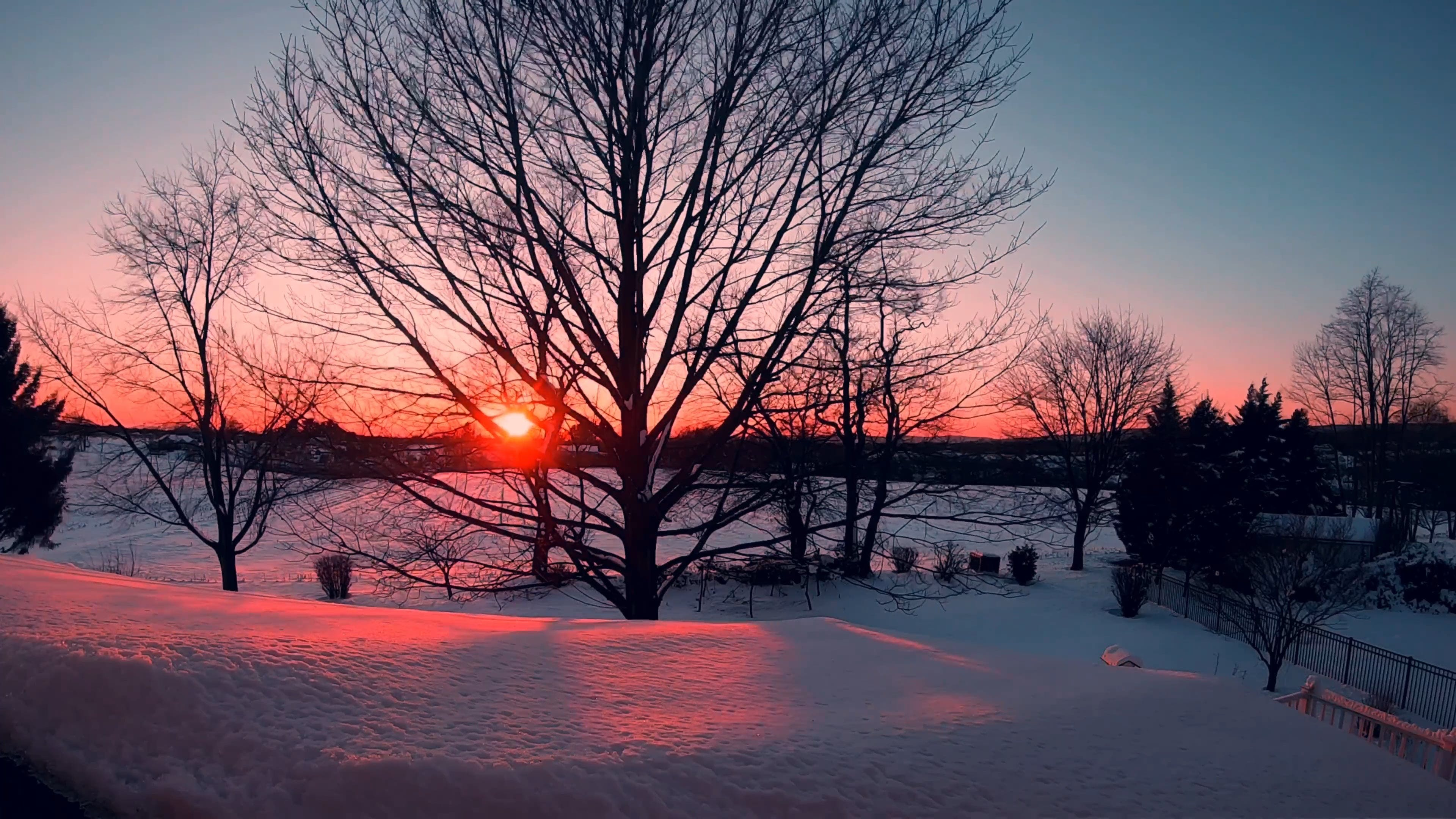 Sunset View On A Winter Landscape