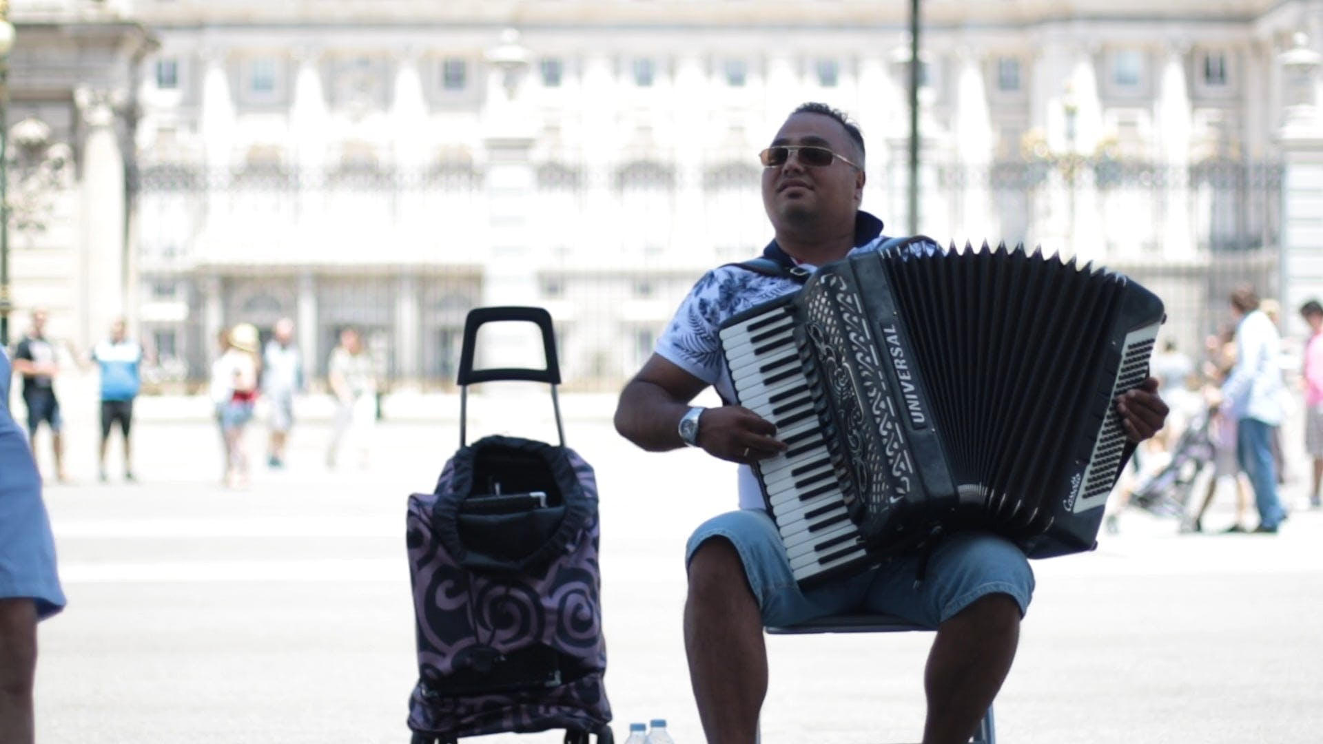 A Street Performer Playing An Accordion