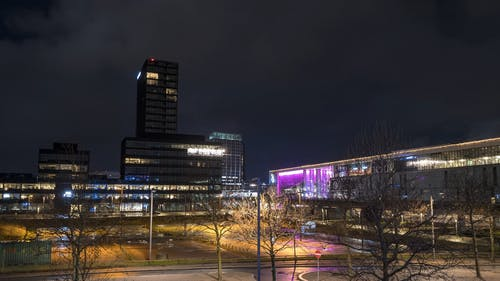 Night Time View Of A Commercial Center
