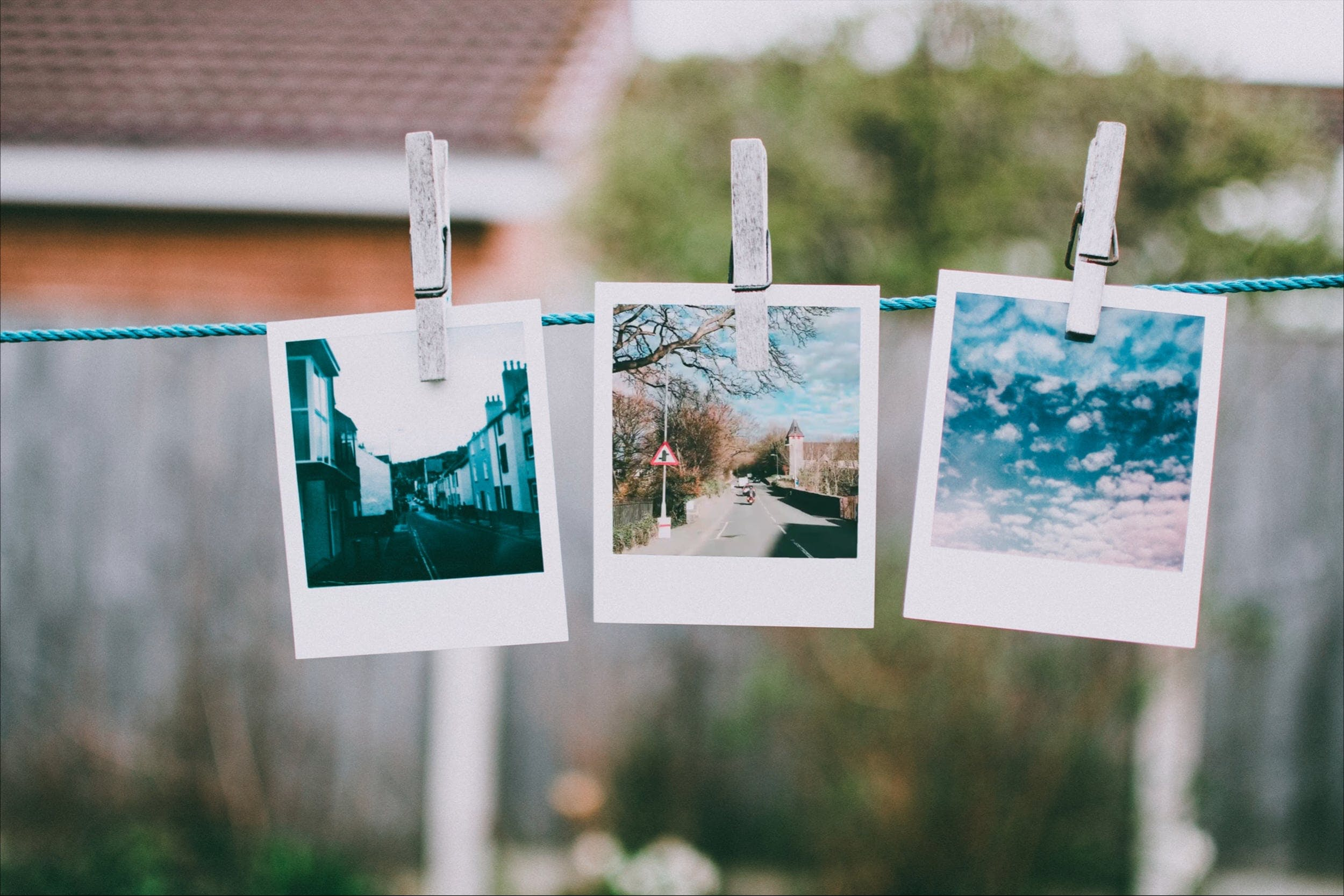Pictures Hanging On Clothesline