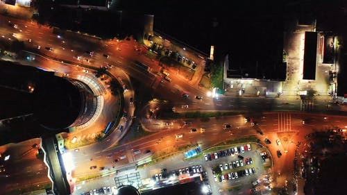 Aerial View Of Vehicles Travelling At Night