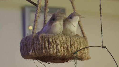 Hanging Decor Of Birds On A Nest