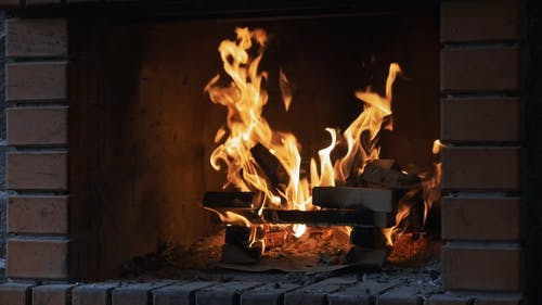 Burning Firewood In A Fireplace