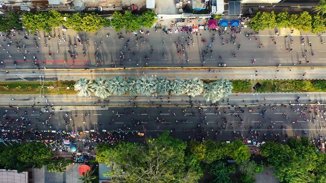 Aerial View Of People Walking In The Streets