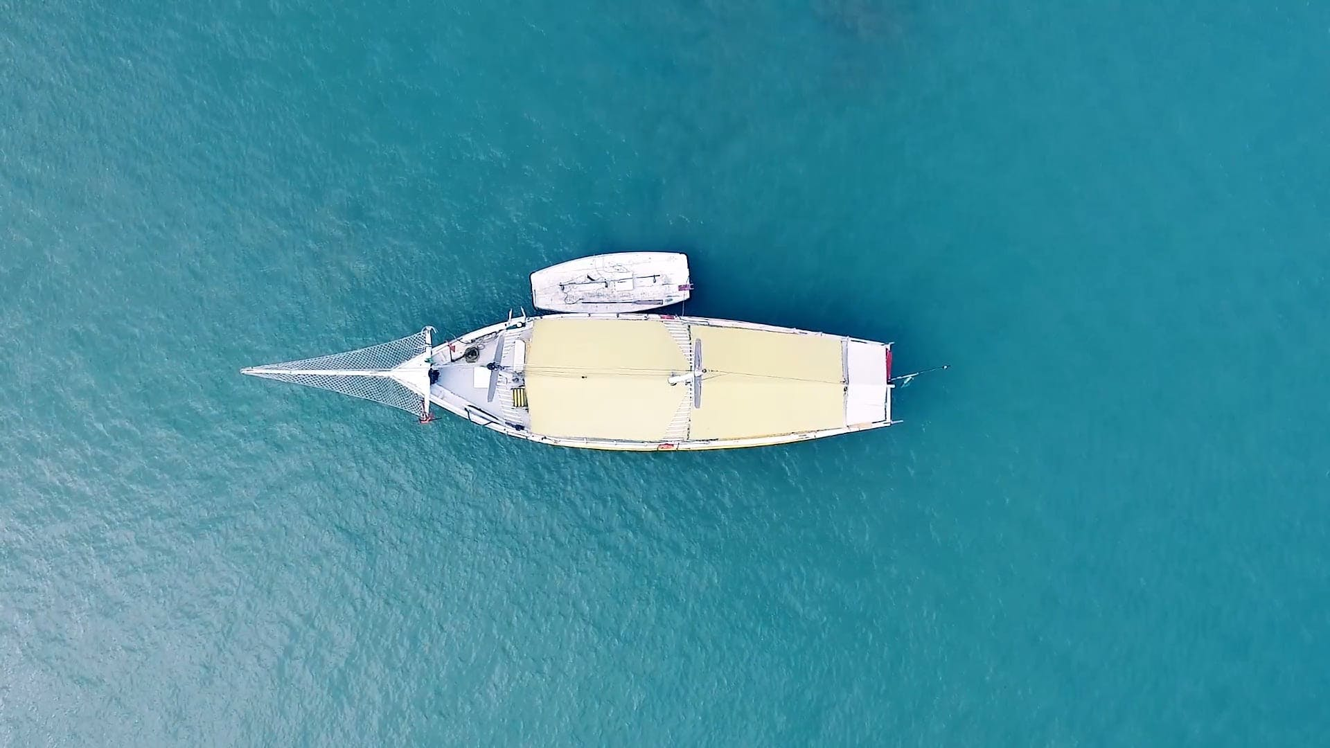 Top View Of A Boat On The Sea