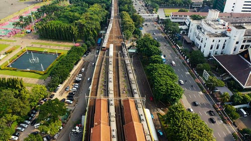 Aerial View Of A Train Station