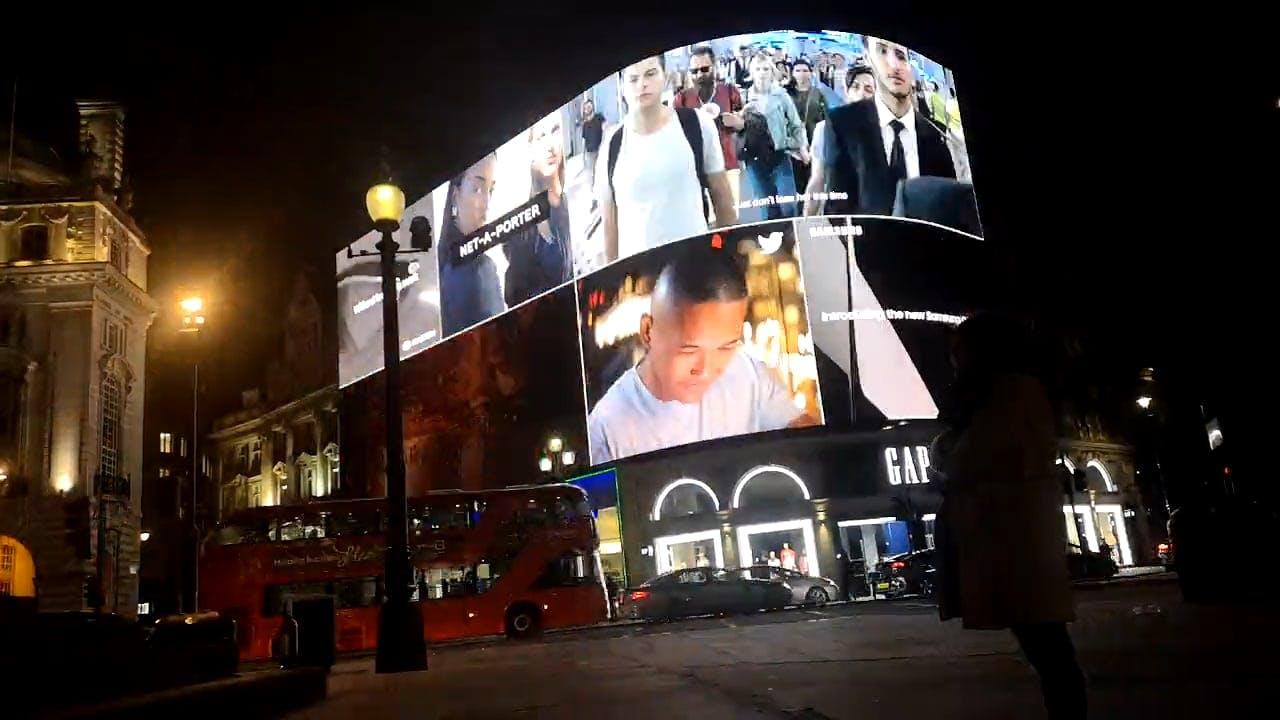 Illuminated Billboard In The City