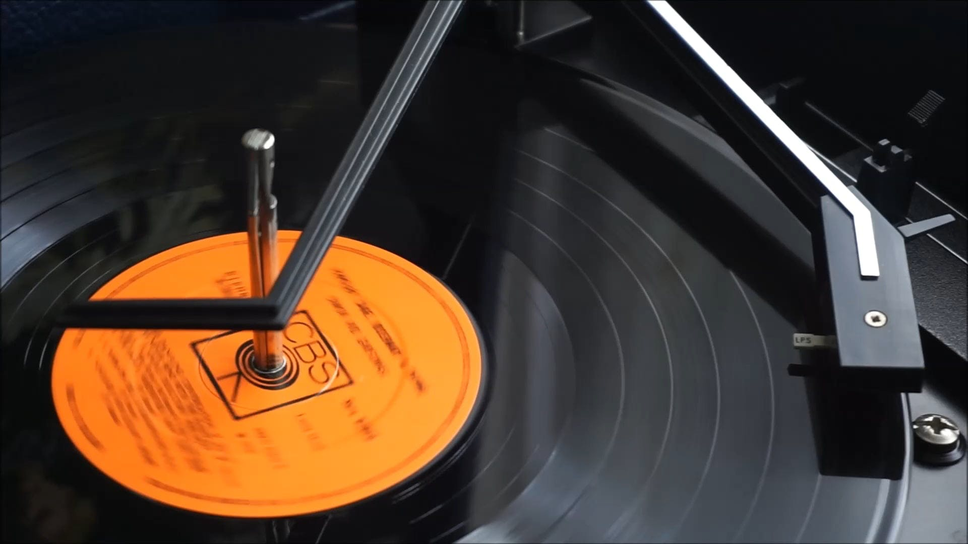 Classic Turntable With Vinyl Record Playing