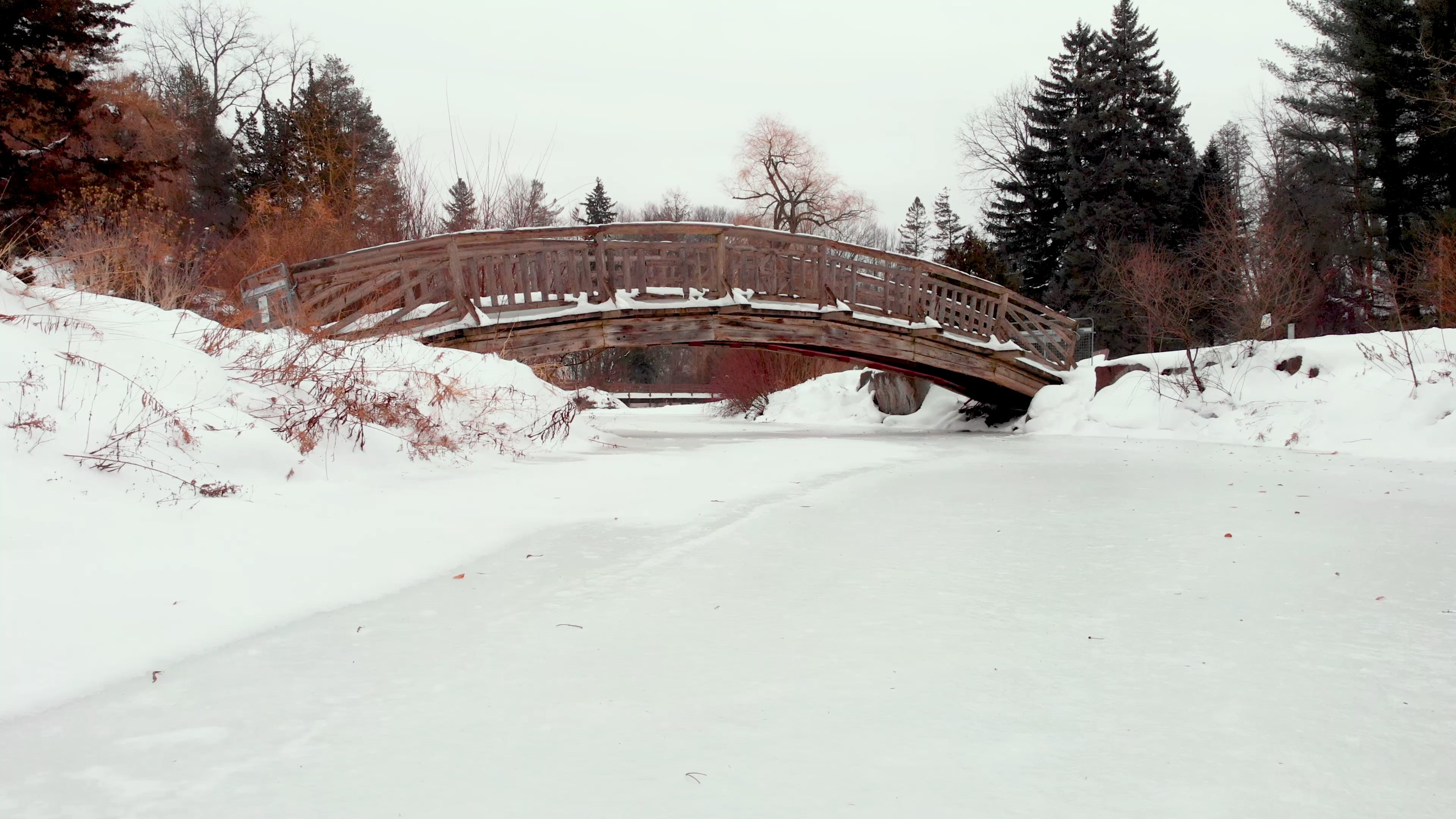Frozen River On A Snow Covered Park