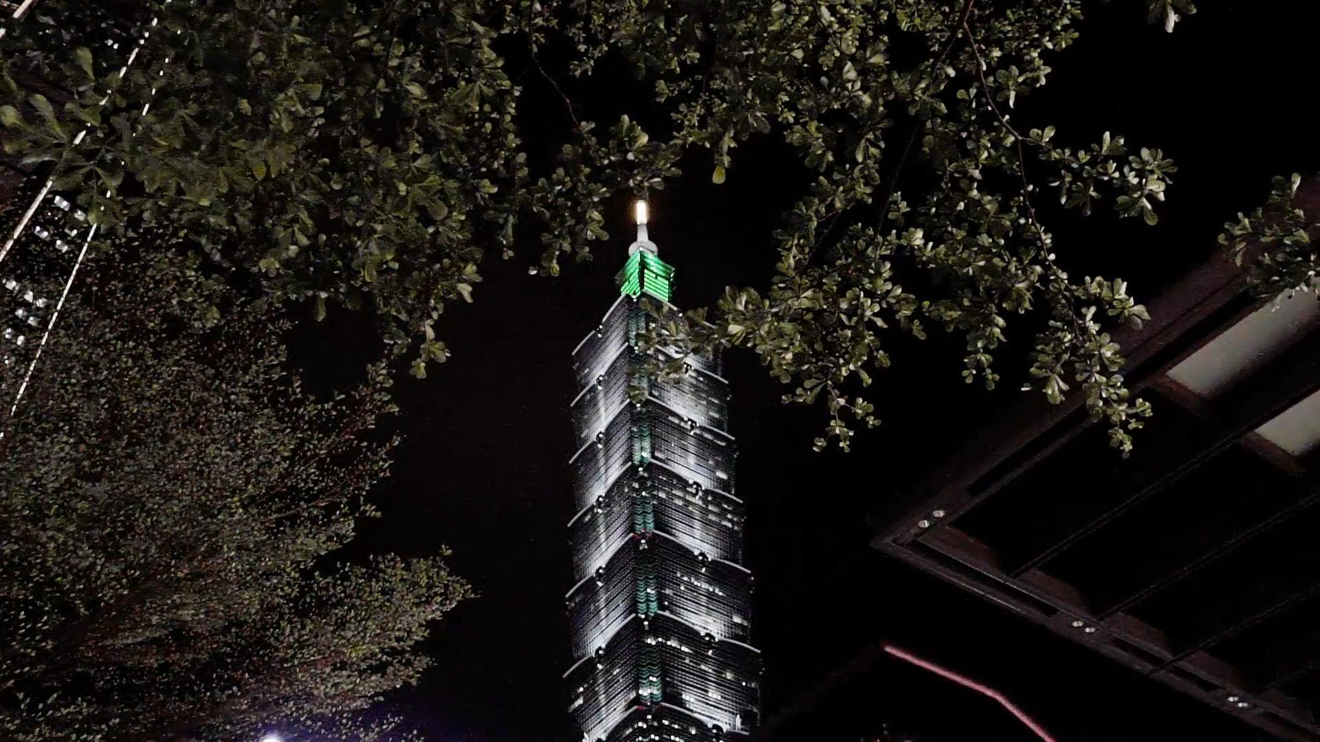 Low Angle Shot Of An Illuminated Tower