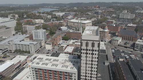 Drone Shot Of The Rooftops Of Buildings