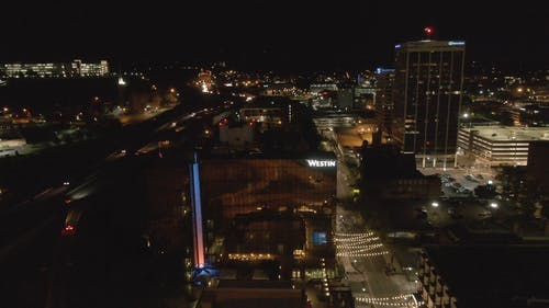 Aerial Footage Of City At Night