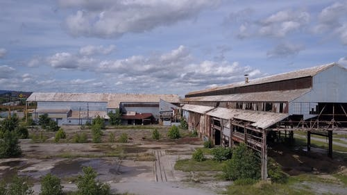 Abandoned Building In An Industrial Area