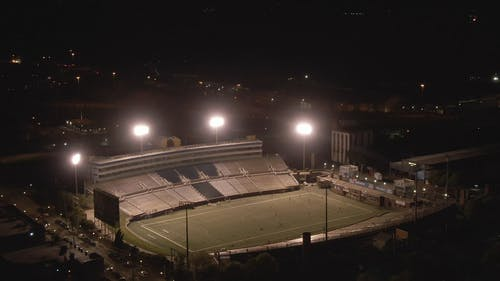Aerial View Of A Soccer Field At NIght