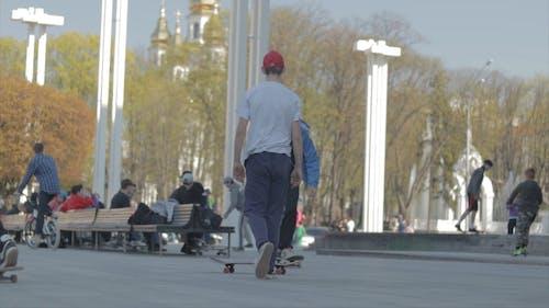 Boy Skateboarding In A Park