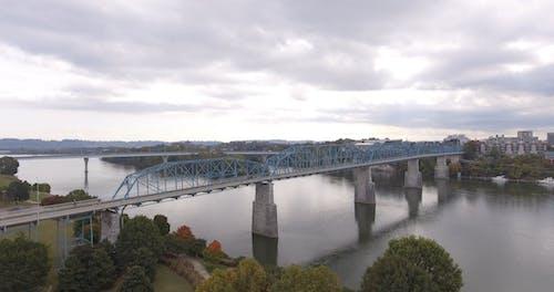 Drone Footage Of Bridges Across A River