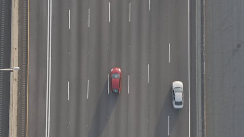 Aerial Footage, Of Traffic Flow In A Highway