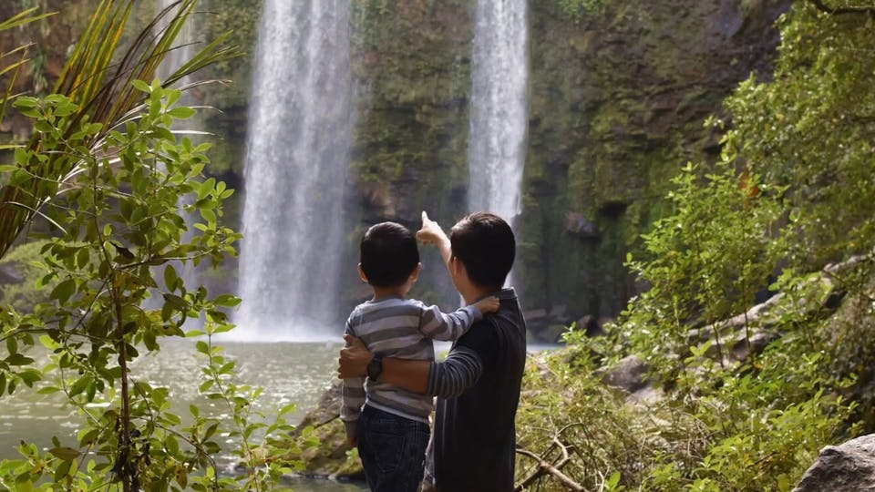 Father And Child Watching The Waterfalls