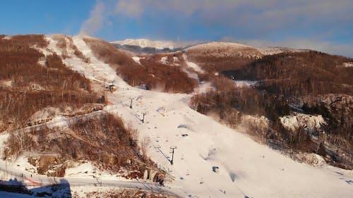 Aerial View Of People Skiing