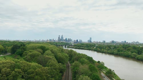 Aerial Footage Of The Surroundind Landscape Of A City