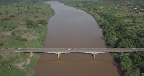 Aerial Landscape View Of A Brown River