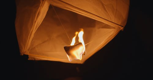 Close-up Of A Paper Lantern drifting On Air