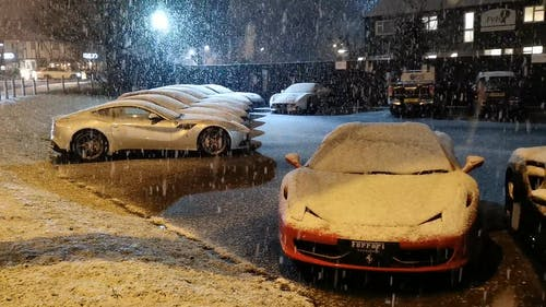 Ferrari Sports Car Parked While Snowing
