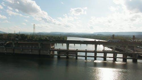 Aerial footage Of A Bridge Across A Lake