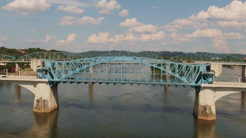 Aerial Footage Of Bridges Across The Lake