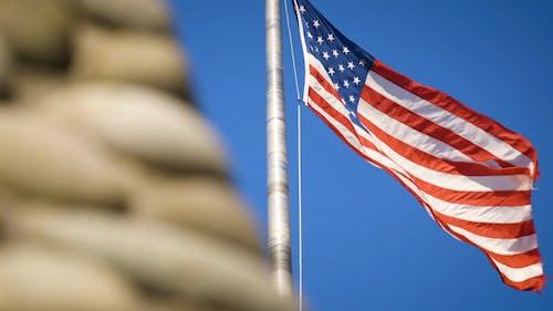American Flag Sways In The Air
