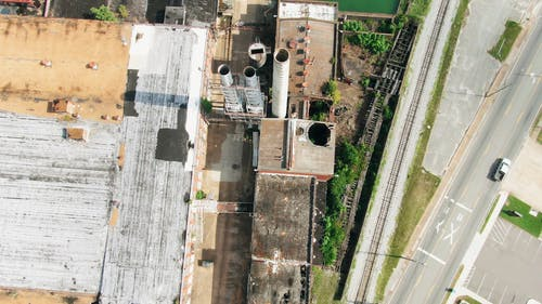 Drone Footage Of Factory Chimney