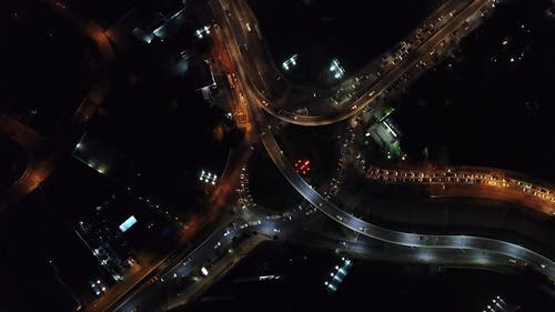 Aerial Footage Of The Road System In A City At Night