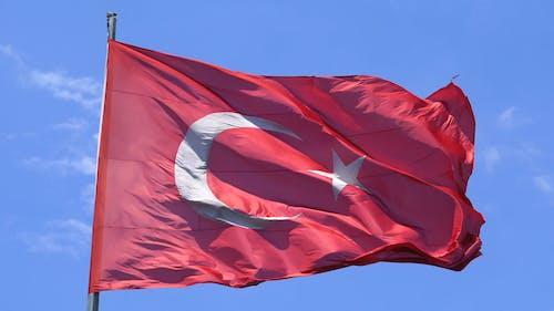 Wind Blowing On A Raised Turkish Flag