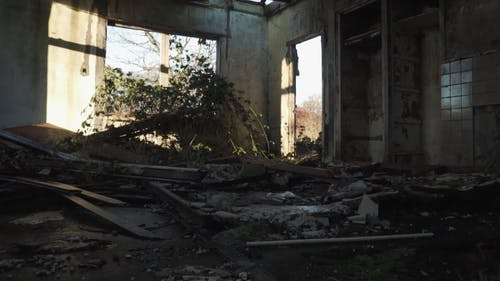 Video Of Debris In A Dilapidated House