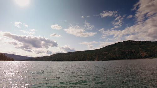 Time Lapse Footage Of Pockets Of Cloud Passing Over A lake