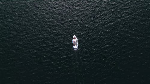 Motorboat Traveling Across A Body Of Water