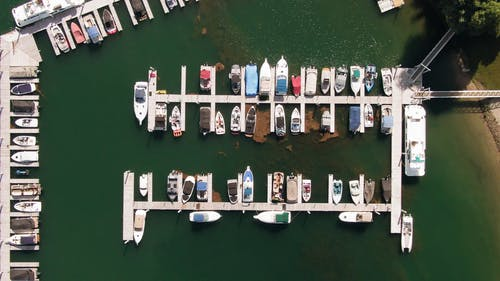 From Above Footage Of Boats And Yachts Docked In A Marina