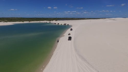 Drone Footage Of Off-Road Vehicles Crossing Sandy Shores