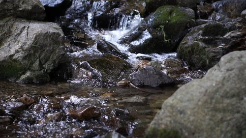 Slow Motion Footage Of Water Flowing Down From The Rocks