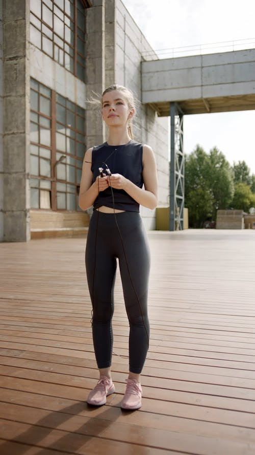 Woman Doing Jump Rope Exercise