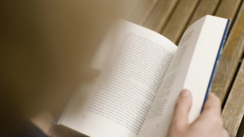 Close-Up View Of A Person Reading A Book