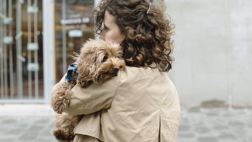 Woman Holding Her Dog