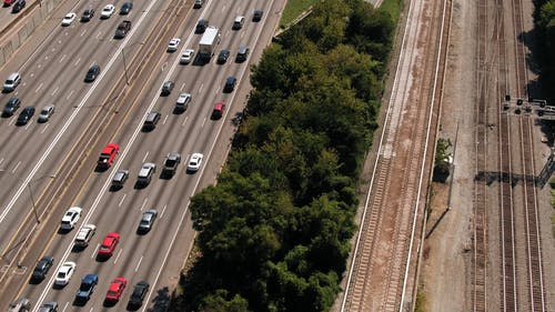 Aerial Footage Of A Traffic In A Multi-lane Expressway